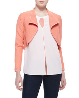 Magaschoni Textured Bolero Jacket & Keyhole Tacked Blouse