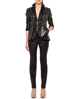 Akris Sequined Cardigan-Style Jacket, Sleeveless Stretch Silk Satin Gilet & Slim Pants