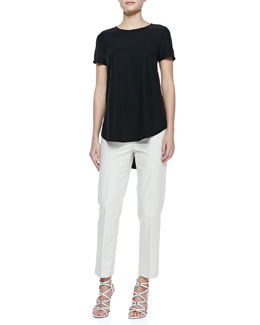 Lafayette 148 New York Silk Short-Sleeve High-Low Top & Metro Stretch Cropped Bleecker Pants