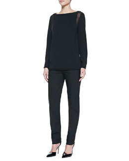 Lafayette 148 New York Sheer-Detail Long-Sleeve Sweater & Perry Fundamental Bi-Stretch Pants