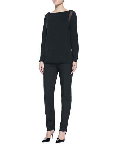 Lafayette 148 New York Sheer-Detail Long-Sleeve Sweater & Perry Fundamental Bi-Stretch Pants