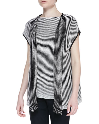 Lafayette 148 New York Two-Tone Pullover Vest & Two-Tone Stripe-Knit Bateau-Neck Shell