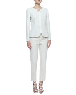 Lafayette 148 New York Lynessa Faille-Trim Long-Sleeve Jacket & Metro Stretch Cropped Bleecker Pants, Raffia