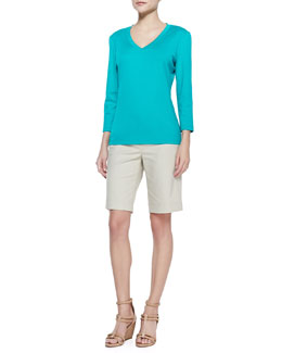 Lafayette 148 New York V-Neck Three-Quarter-Sleeve Tee & Metro Stretch Bermuda Shorts