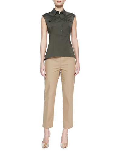 Lafayette 148 New York Cotton Sleeveless Camp Shirt & Metro Stretch Bleecker Cropped Pants