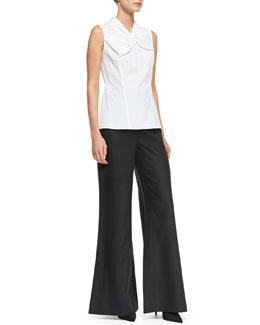 Lafayette 148 New York Bow-Detail Sleeveless Top & Linen Wide-Leg Bell-Bottom Pants