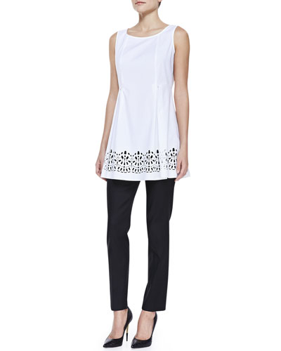 Lafayette 148 New York Laser-Cutout Sleeveless Top & Stanton Stretch-Linen Pants