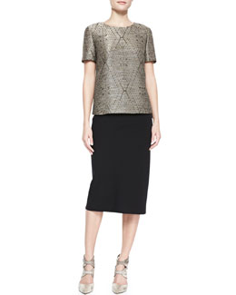 Lafayette 148 New York Optic Diamond Jacquard Top & Priscilla Over-the-Knee Skirt