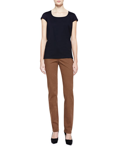 Lafayette 148 New York Scoop-Neck Cap-Sleeve Top & Basketweave-Print Curvy Slim-Leg Jeans