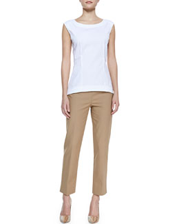 Lafayette 148 New York Bateau-Neck Peplum Top & Metro Stretch Bleecker Cropped Pants