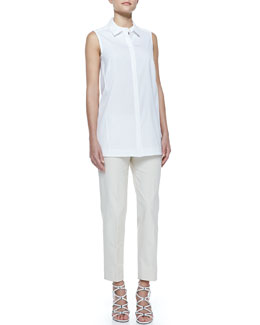 Lafayette 148 New York Button-Front Sleeveless Blouse & Metro Stretch Cropped Bleecker Pants