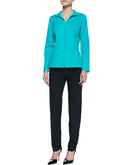 Lafayette 148 New York Stretch-Cotton Zip-Front Blouse & Perry Fundamental Bi-Stretch Pants
