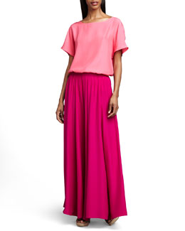 Neiman Marcus Short-Sleeve Cocoon Tee & Pull-On Maxi Skirt
