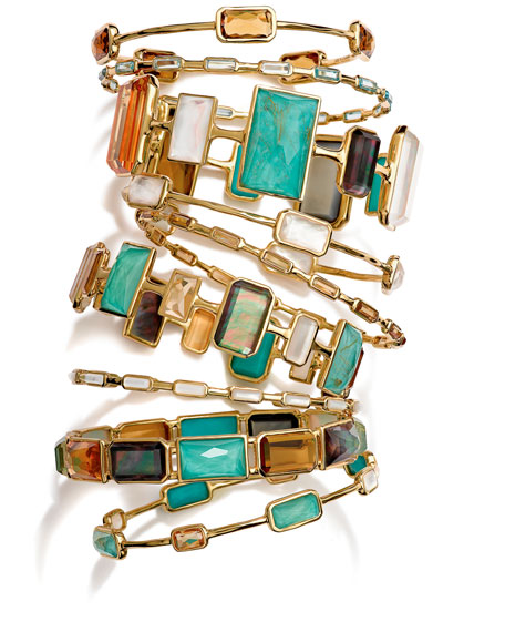 Ippolita 18k Gold Rock Candy Gelato 16-Stone Bangle,
