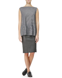 THE ROW Mini-Stripe Peplum T-Shirt and Slim Leather Tubino Skirt