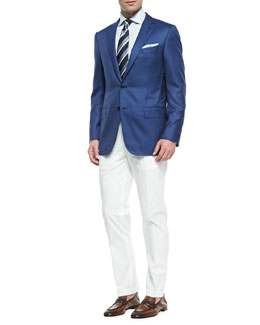 Ermenegildo Zegna Twill Wool-Silk Blazer & Cotton Gabardine Trousers