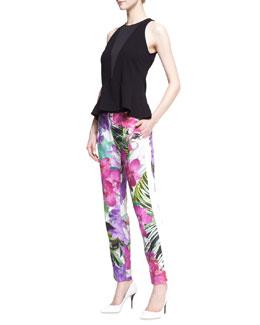 Trina Turk Cecila Jersey Peplum Top & Senia 2 Satin Floral-Print Pants