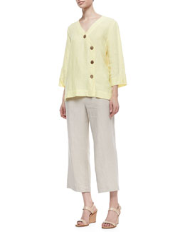 Neiman Marcus Long Sleeve Tunic with Large Notched Buttons & Casual Linen Ankle Pants