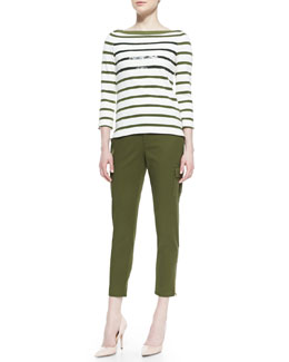 kate spade new york long-sleeve striped tee with sequins & cropped slim cargo pants with zip cuffs
