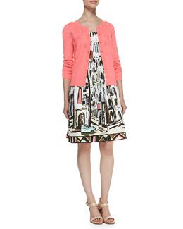 kate spade new york beaded floral cluster cardigan & sleeveless landscape-print dress