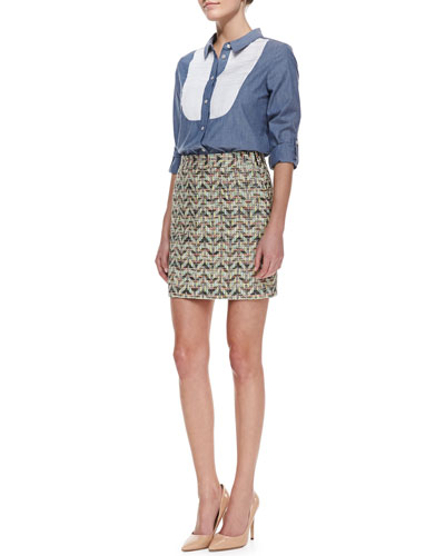 kate spade new york long-sleeve button-down bib shirt & harper summer tweed skirt