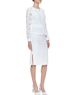 Escada Long-Sleeve Floral Lace Zip Jacket & Skirt with Kickback Detail