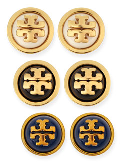 Tory Burch Melodie Logo Stud Dome Earrings