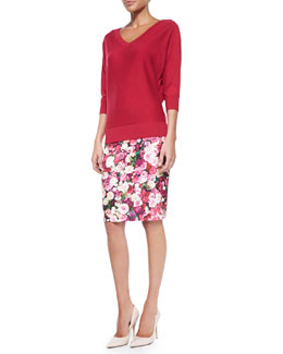 kate spade new york rose-print pencil skirt & v-neck dolman sweater