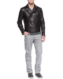 John Varvatos Star USA Trapunto Leather Biker Jacket, Striped Short-Sleeve Henley & Bowery Denim Jeans
