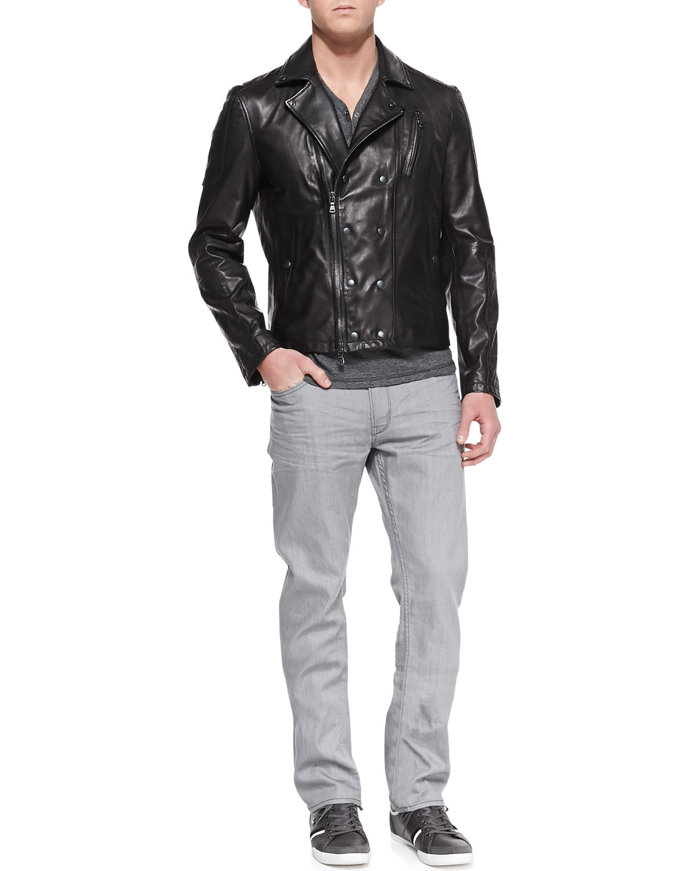 Trapunto Leather Biker Jacket, Striped Short-Sleeve Henley & Bowery Denim Jeans