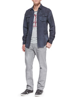 John Varvatos Star USA Long-Sleeve Utility Shirt, Peace-Sign Graphic Ringer Tee & Bowery Denim Jeans