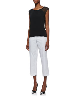 T Tahari Aries Sleeveless Blouse with Mesh Insets & Cabana Twill Cropped Pants