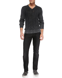 John Varvatos Star USA V-Neck Cable-Knit Sweater & Bowery Denim Jeans