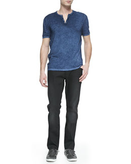 John Varvatos Star USA Short-Sleeve Split-Neck Henley & Bowery Denim Jeans