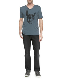 John Varvatos Star USA Skull-Print V-Neck Tee & Bower Denim Jeans