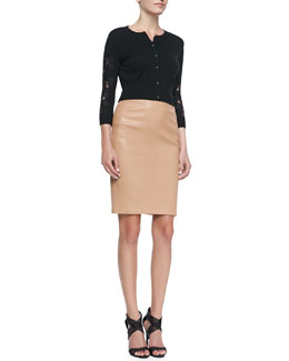 Diane von Furstenberg Doris Cropped Lace-Sleeve Cardigan & Marta Paneled Leather Pencil Skirt