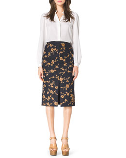 Michael Kors  Long-Sleeve Silk Blouse & Embroidered Wool-Blend Skirt