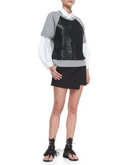 Robert Rodriguez Armor Jersey Beaded Sweatshirt, Combo Illusion Shirt & Techno Wrap Skort
