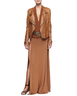 Donna Karan Asymmetric Zip Lambskin Leather Jacket, Sleeveless V-Neck Draped Blouse, Long Double-Slit Skirt & Leather Belt