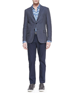 Vince Linen Two-Button Blazer, Camo-Print Linen Shirt & Crisp Cotton Trousers