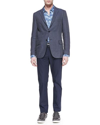 Vince Linen Two-Button Blazer, Camo-Print Linen Shirt & Crisp Cotton Trousers