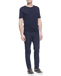 Vince Slub Crewneck Tee & Crisp Cotton Trousers