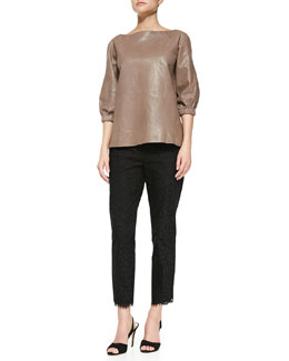 kate spade new york leather blouson popover & jackie lace capri pants