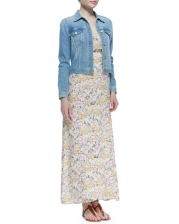 Joie Classic Faded Denim Jacket & Hydeia Floral-Print Tiered Maxi Dress