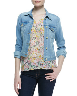 Joie Classic Faded Denim Jacket & Macy B Floral-Print Blouse