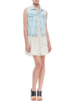 Joie Classic Denim Vest & Hudette Silk Bug-Print Sleeveless Dress