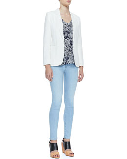 Joie Mehira Linen Notch-Collar Blazer, Suela Short-Sleeve Printed Top & Mid-Rise Light Skinny Jeans
