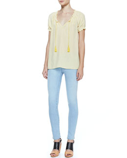 Joie Masha Printed Short-Sleeve Blouse & Mid-Rise Light Skinny Jeans