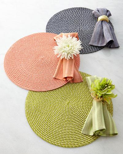 Deborah Rhodes Rattan-Weave Placemat, Capri Striped Napkin, & Coordinating Napkin Rings