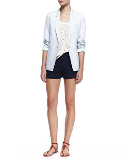 Joie Mehira B Linen One-Button Blazer, Rain Bug Silk Tank Top & Leiden Linen Shorts
